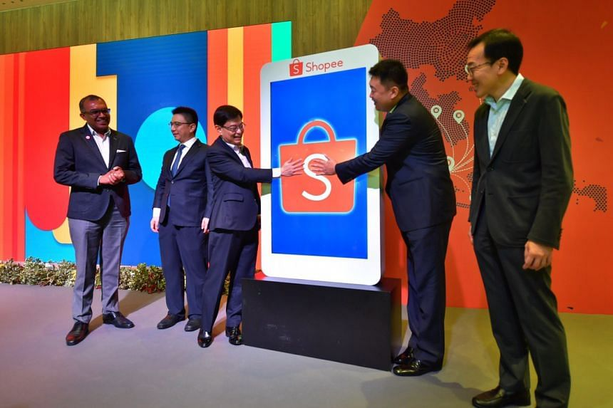 Deputy Prime Minister Heng Swee Keat (third from left) said Shopee's growth is aligned with Singapore's plans for growing the economy and positioning itself as a hub for the region to harness the potential of the growing digital economy.