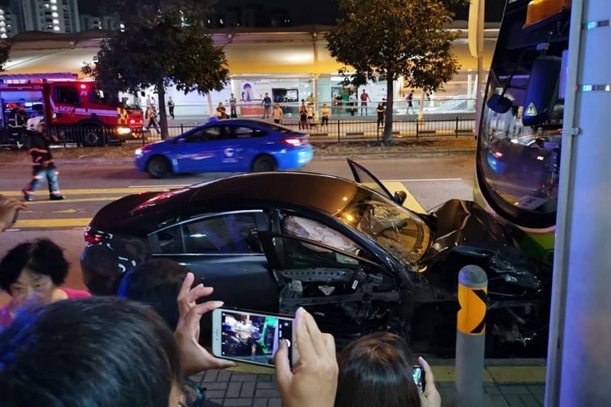 The accident involved a car, a bus and a taxi in Sengkang Central in the direction of Hougang Avenue 6.
