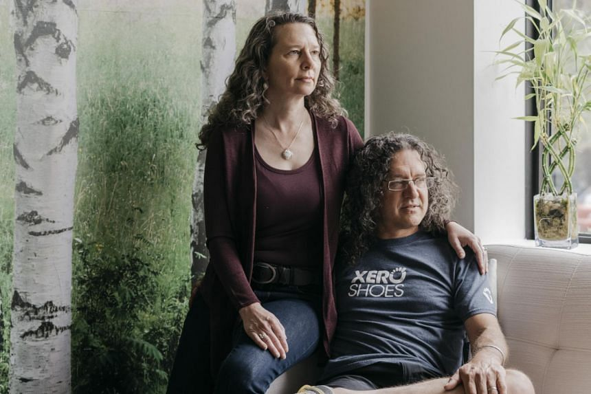Lena Phoenix and her husband, Steven Sashen, co-founders of Xero Shoes, in Broomfield, Colorado, on Aug 29, 2019.