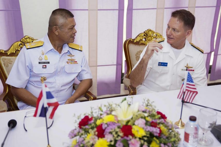 US Navy Rear-Admiral Joey Tynch, commander of the Singapore-based Logistics Group Western Pacific, and Royal Thai Navy Rear-Admiral Sompong Narkthong, commander for the combined Asean-US task force during the Asean-US Maritime Exercise, following the