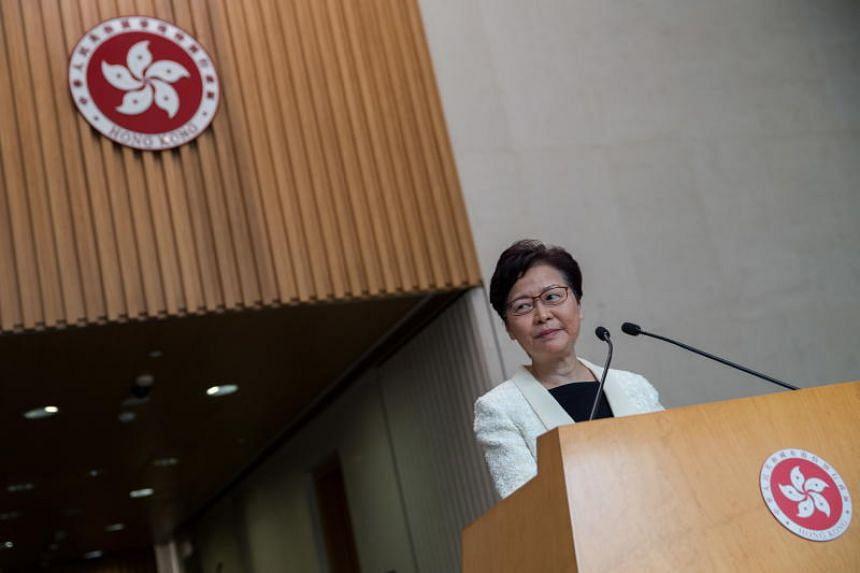 Hong Kong leader Carrie Lam at a press conference in Hong Kong on Sept 3, 2019.