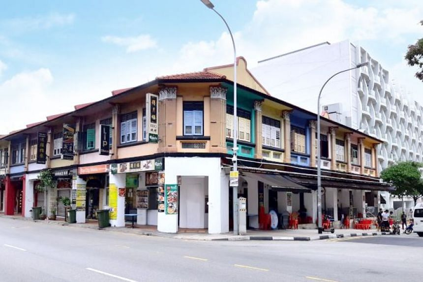 The Geylang shophouses are located at the corner of Geylang Road and Lorong 14 Geylang, near Aljunied MRT station.