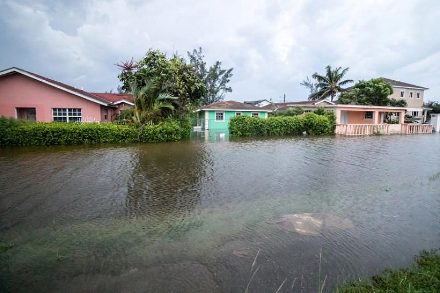 A street is flooded after Hurricane Dorian arrived in Nassau, the Bahamas, on Sept 2, 2019.