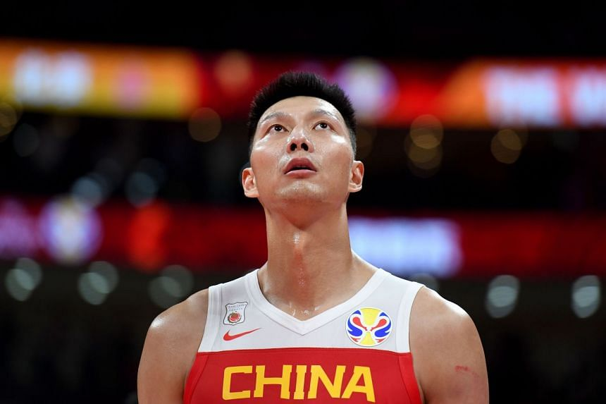 China's Yi Jianlian reacts during the Basketball World Cup Group A game.