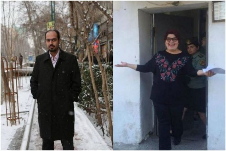 "Editor-in-chief of monthly Sedaye Parsi political magazine, Masoud Kazemi (left), and Azerbaijani investigative journalist Khadija Ismayilova (right) are mentioned in September's list of ""10 Most Urgent"" cases. PHOTO: CENTRE FOR HUMAN RIGHTS IN IRAN/"