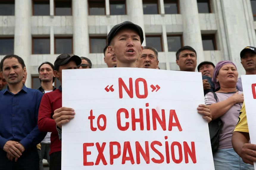 People protest against the construction of Chinese factories in Kazakhstan during a rally in Almaty on Sept 4, 2019.