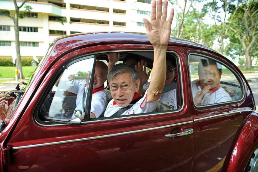 Mr Chiam with other members of the SPP setting off for the Nomination Centre on April 27, 2011, before the General Election that year.
