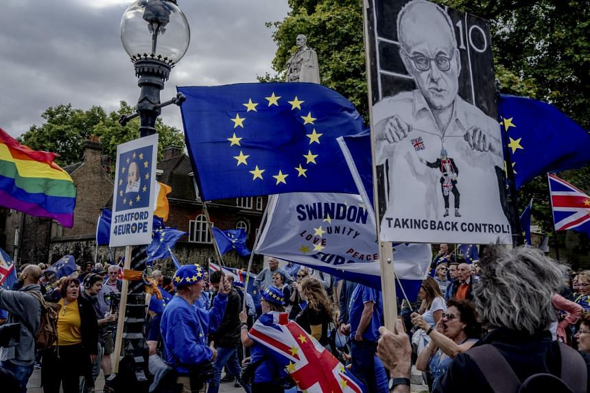 Demonstrators against Brexit gather outside Parliament in London, on Sept 3, 2019.