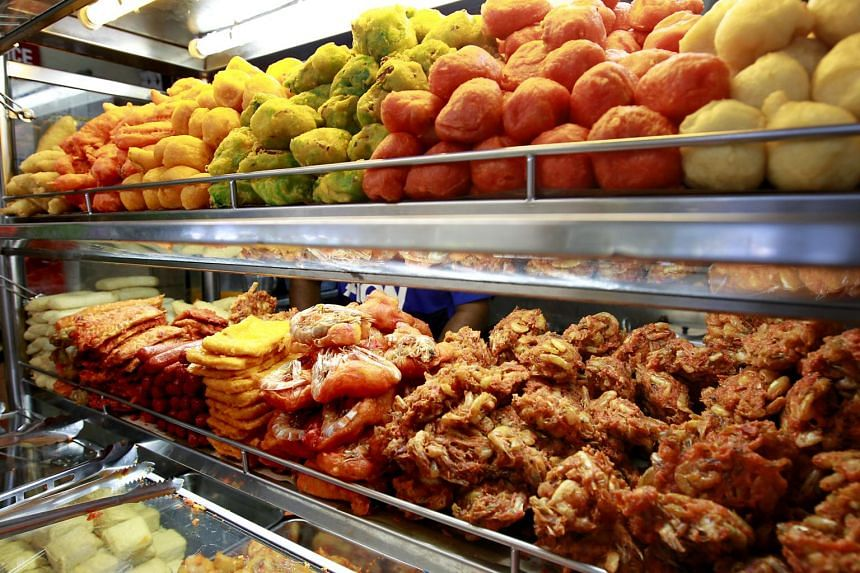 Items for Indian rojak displayed at a hawker centre in Singapore.