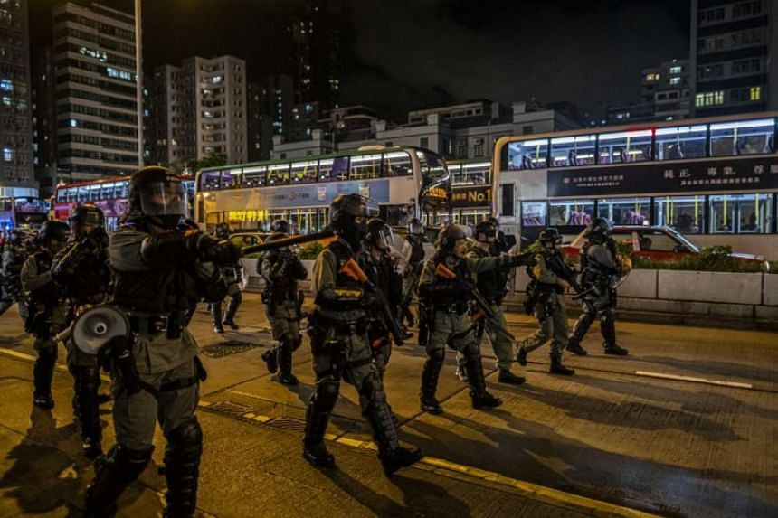 Riot police officers near a police station in Mong Kok, Hong Kong, where pro-democracy demonstrators had gathered, on Sept 2, 2019.
