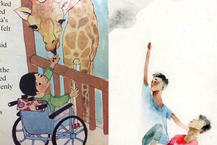 Feeding Time (far left), a short story about a child who uses a wheelchair, is by Suzanne Kamata and illustrated by Felicia Hoshino. Si Kian (left), by Weng Cahiles and illustrated by Aldy Aguirre, is about a 17-year-old student who was killed by thr