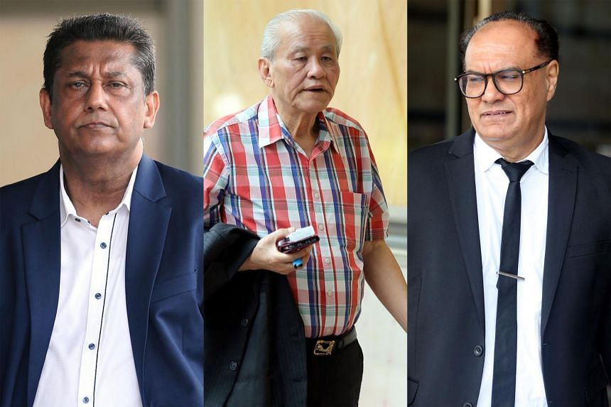 (From left) Singapore Recreation Club's former general manager Abdul Rashid Mohamed Ali and former president Johnny Goh Kok Guan are accused of various breaches of duties, with the bulk of the damages sought related to guest rooms operated by the c