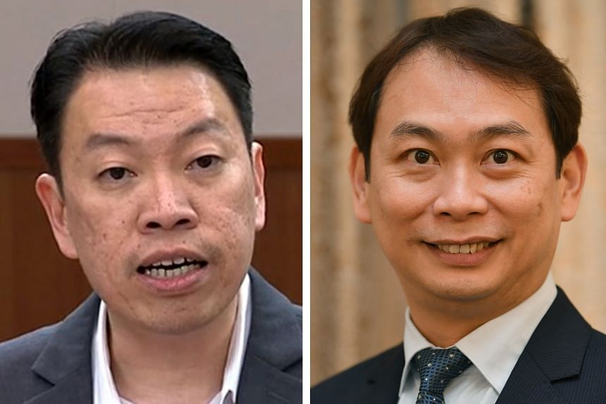(Left) Mr Melvin Yong (Tanjong Pagar GRC) called for mental health issues to be included in the list of occupational diseases covered under the Work Injury Compensation Act. (Right) Nominated MP Douglas Foo said that standardised insurance coverage,