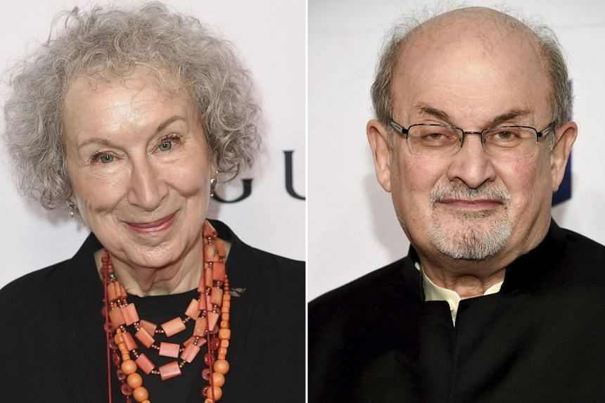 Margaret Atwood's (left) The Testaments and Salman Rushdie's (right) Quichotte are among six novels shortlisted for the Booker Prize for Fiction.