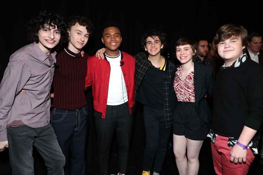 (From left) Actors Finn Wolfhard, Wyatt Oleff, Chosen Jacobs, Jack Dylan Grazer, Sophia Lillis and Jeremy Ray Taylor  star in  the movie,  It Chapter Two.