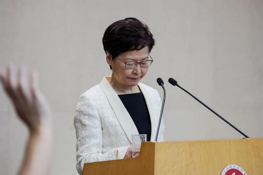 In an audio recording of a closed-door meeting last week between Hong Kong's chief executive Carrie Lam and local business people that was leaked to Reuters, Mrs Lam is heard to say that she longed to resign.