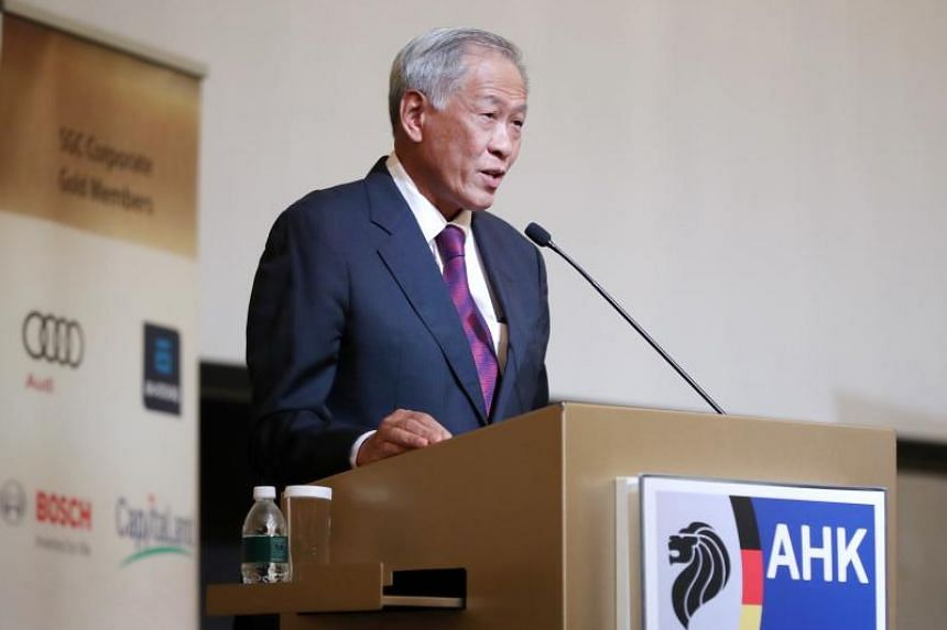 Defence Minister Ng Eng Hen  speaking at a business luncheon organised by the Singapore-German Chamber of Industry and Commerce on Sept 4, 2019.
