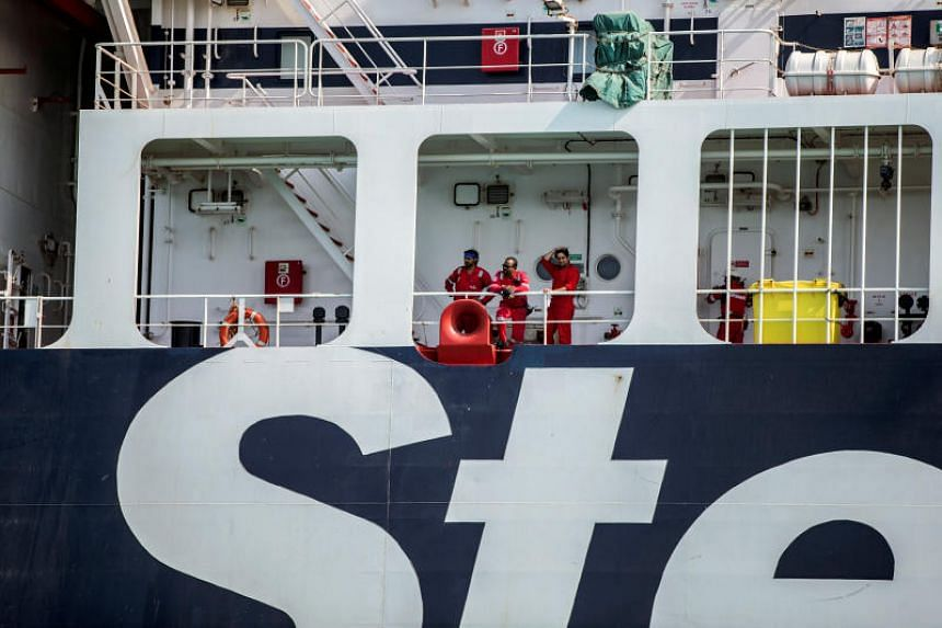 Crew members of Stena Impero, a British-flagged vessel owned by Stena Bulk, at an undisclosed place off the coast of Bandar Abbas, Iran, on Aug 22, 2019.