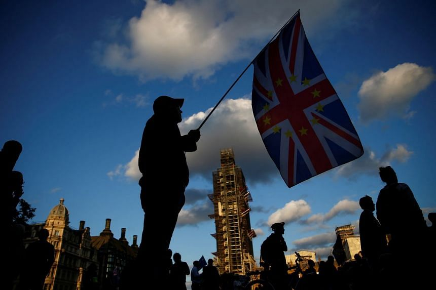 An anti-Brexit protester demonstrates outside the Houses of Parliament in London.