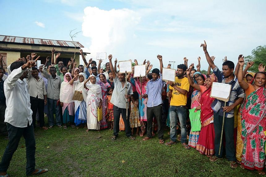 Villagers whose names have been left out of the final list of the National Register of Citizenship taking part in a protest in Assam, India, on Monday.