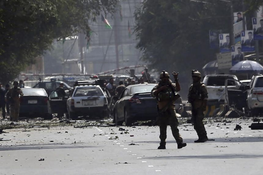Security personnel arrive at the site of car bomb explosion in Kabul, Afghanistan, on Sept 5, 2019.