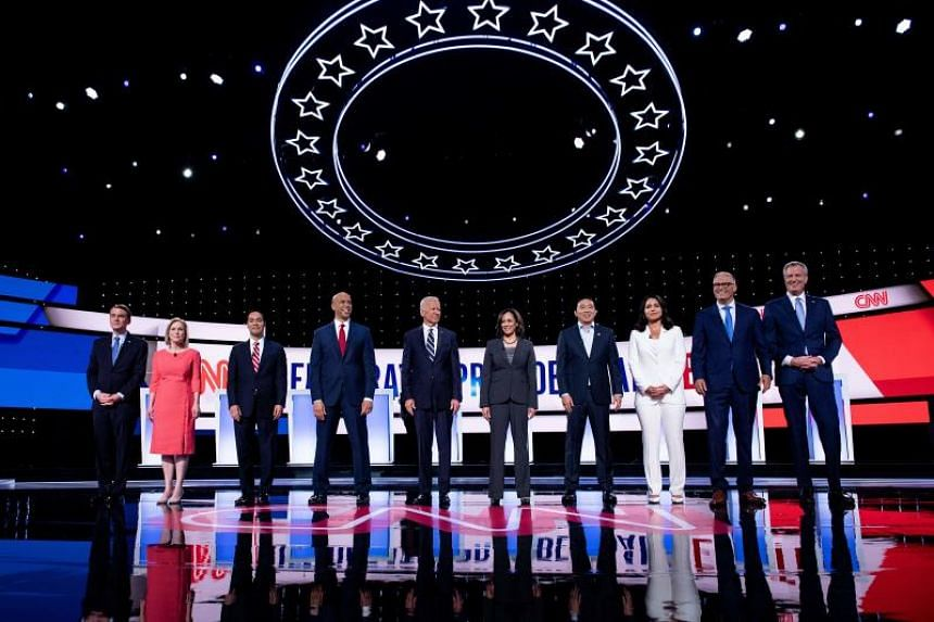 Democratic presidential hopefuls during the second round of the second Democratic primary debate of the 2020 presidential campaign season hosted by CNN in Detroit, Michigan, on July 31, 2019.