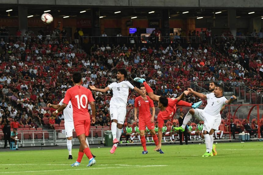 Singapore's Ikhsan Fandi attempts a shot during the second-round World Cup Qualifiers match against Yemen at the National Stadium on Sept 5, 2019.