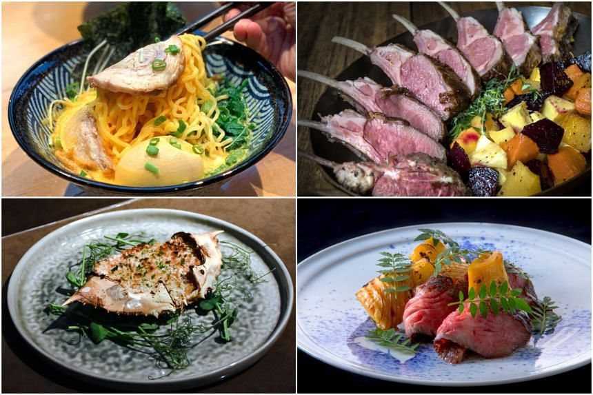 Clockwise from top left: Uni Ramen from Seizan Uni Ramen, full rack of lamb at Bedrock Bar & Grill, grilled wagyu with seasonal vegetables at Twenty3 and Txangurro a la Donostiarra from The Alkaff Mansion.
