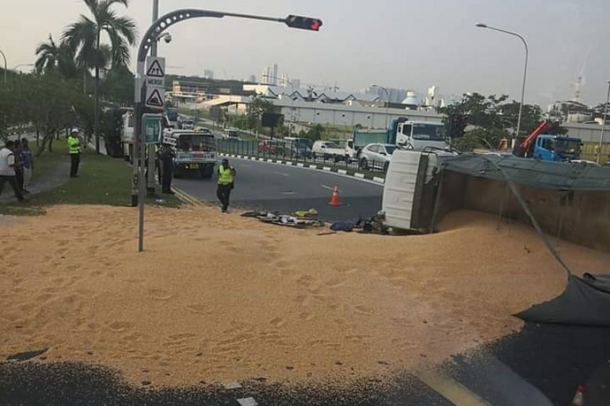 Pictures of the aftermath of the accident show an area covered with sand cordoned off from traffic.