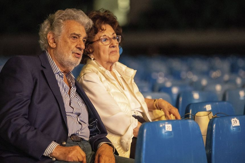 Placido Domingo and his wife, Marta, attend a rehearsal for the opening gala of a youth forum in Hungary.