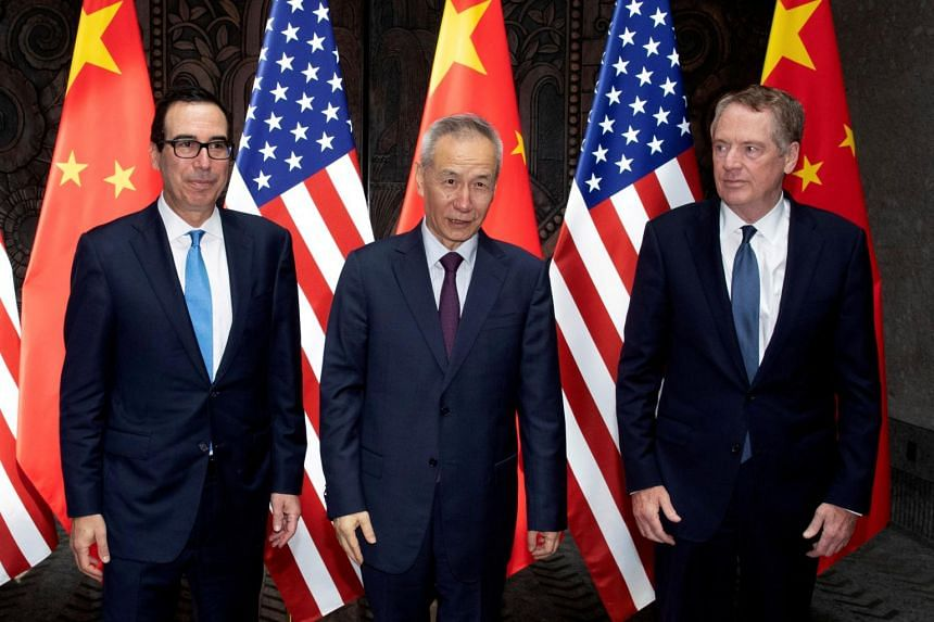 The announcement followed a call between (from left) US Treasury Secretary Steven Mnuchin, China's Vice-Premier Liu He and US Trade Representative Robert Lighthizer.