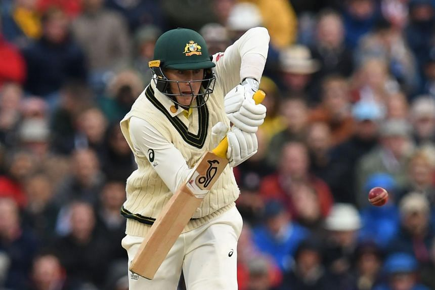 Australia's Marnus Labuschagne plays a shot on the first day of the fourth Ashes cricket Test match between England and Australia at Old Trafford in Manchester, north-west England, on Sept 4, 2019.