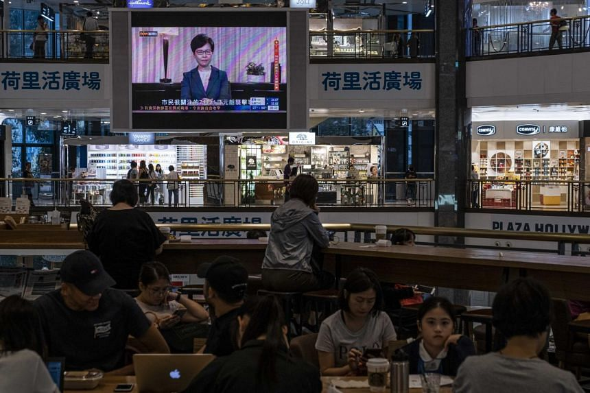 In a pre-recorded televised message on Sept 4, 2019, Hong Kong leader Carrie Lam formally withdrew the Bill, acceding to one of pro-democracy protesters' five demands.