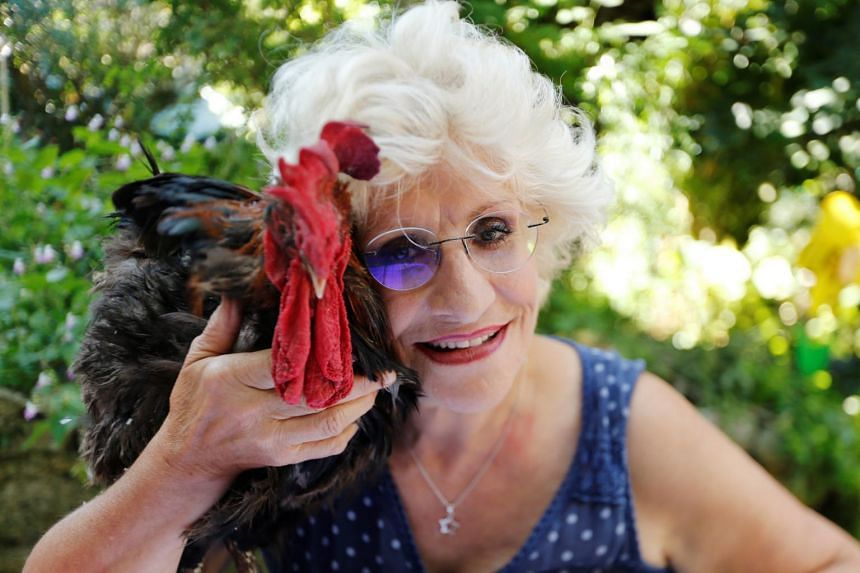 Corinne Fesseau poses with her rooster Maurice, whose loud crows landed him in court accused of noise pollution, in Saint-Pierre-d'Oleron, France, on Aug 31, 2019.