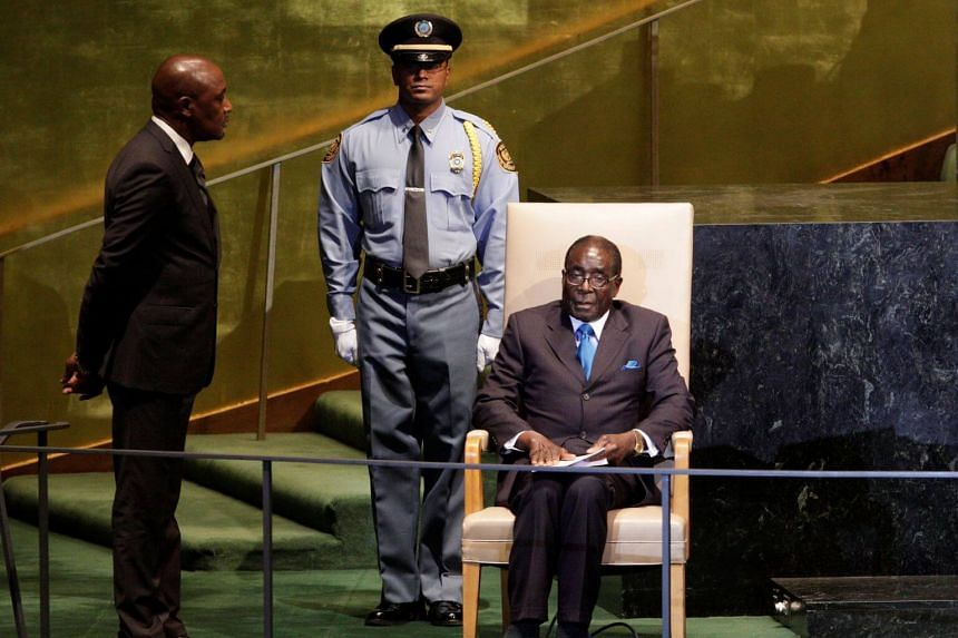 Robert Mugabe waiting to address the 66th United Nations General Assembly at the UN headquarters in New York on Sept 22, 2011.