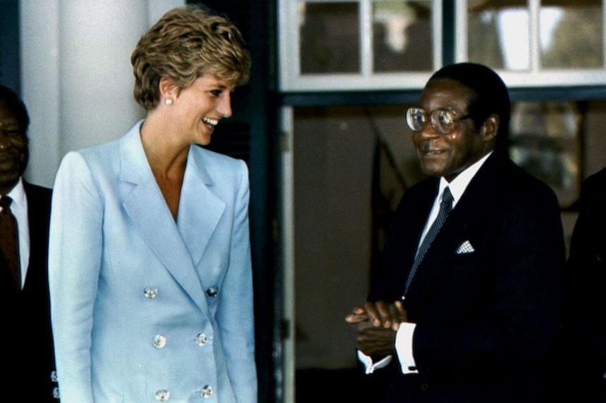 Robert Mugabe meeting Princess Diana during her visit to Harare, Zimbabwe, on June 10, 1993.
