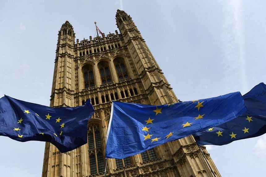 European Union flags fly outside the British Parliament in Westminster, central London, on Sept 5, 2019.