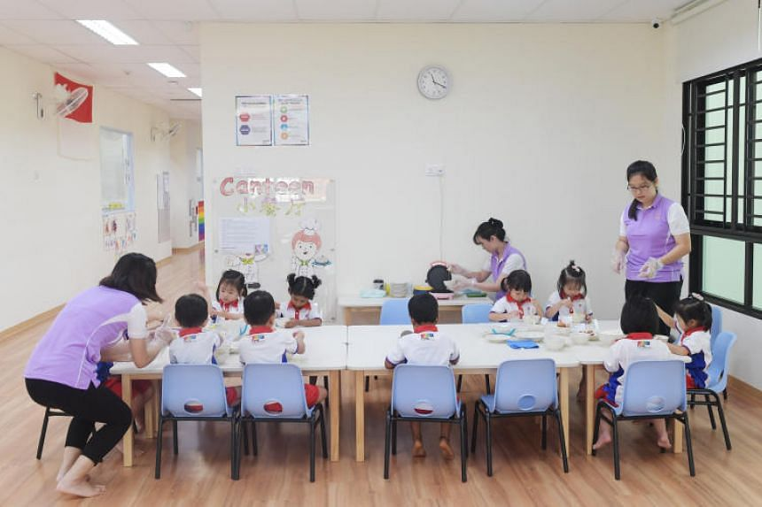 Children participating in a pre-school activity on Aug 2, 2019.