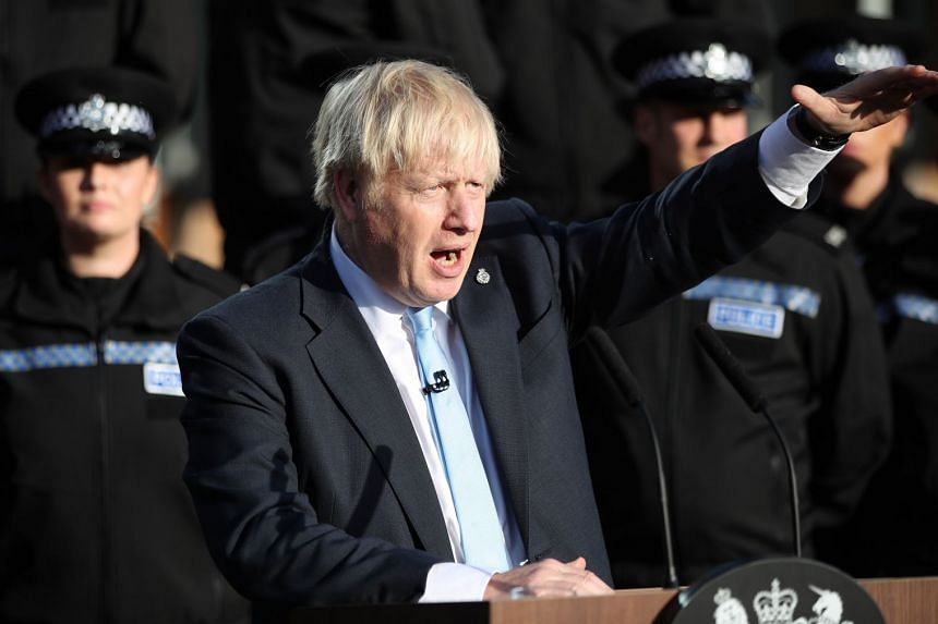 British Prime Minister Boris Johnson gives a speech during a visit to West Yorkshire, England.