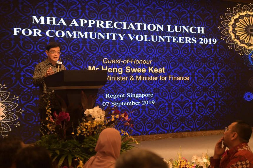 Deputy Prime Minister Heng Swee Keat speaking at the 15th Ministry of Home Affairs Appreciation Lunch for community volunteers on Sept 7, 2019.