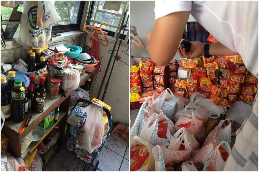 In a viral Facebook post, hundreds of instant noodle packets and more than 50 bottles of soy sauce were among the donated goods that were stacked to the brim in the one-room rental flat of a 78-year-old man.
