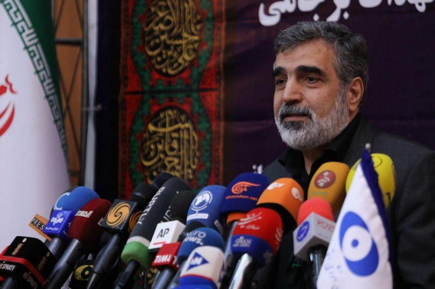 A spokesman for the organization Behrouz Kamalvandi speaks during a press conference in Tehran on Sept 7, 2019.