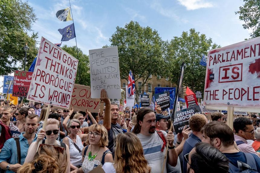 Anti-Brexit demonstrators protest outside 10 Downing Street in London on Aug 31, 2019.