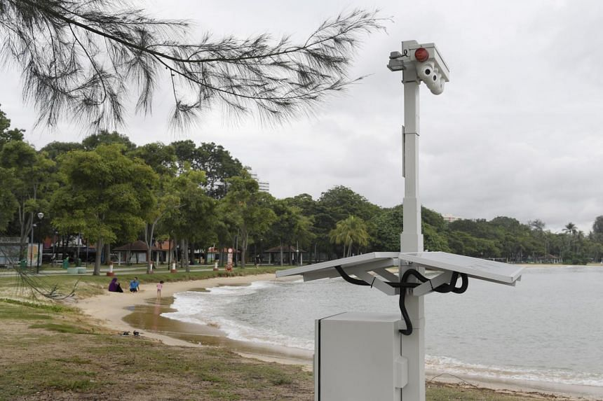 A closed-circuit television (CCTV) camera installed at East Coast Park.