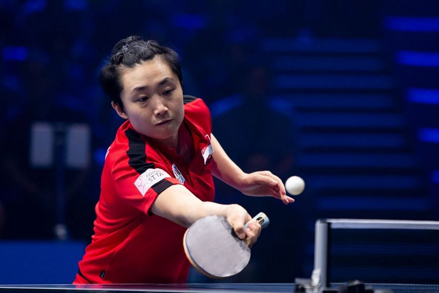Feng Tianwei's 4-2 win over Japan's world No. 9 Miu Hirano in July's Seamaster T2 Diamond 2019 Malaysia leg's round of 16 was her first win over a top-10 player since December 2017. PHOTO: T2 DIAMOND Feng jumping into the arms of an emotional head co