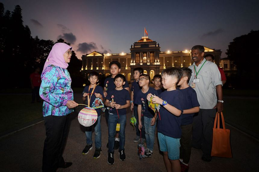 Brightly coloured lanterns lit the Istana grounds last night, as some 50 children and their caregivers toured its sprawling gardens and historic buildings. The children, beneficiaries of Life Community Services Society and Shine Children and Youth Se
