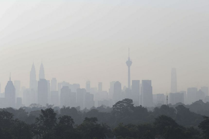 A photo taken on Sept 7, 2019, showing the skyline of Kuala Lumpur obscured by haze.