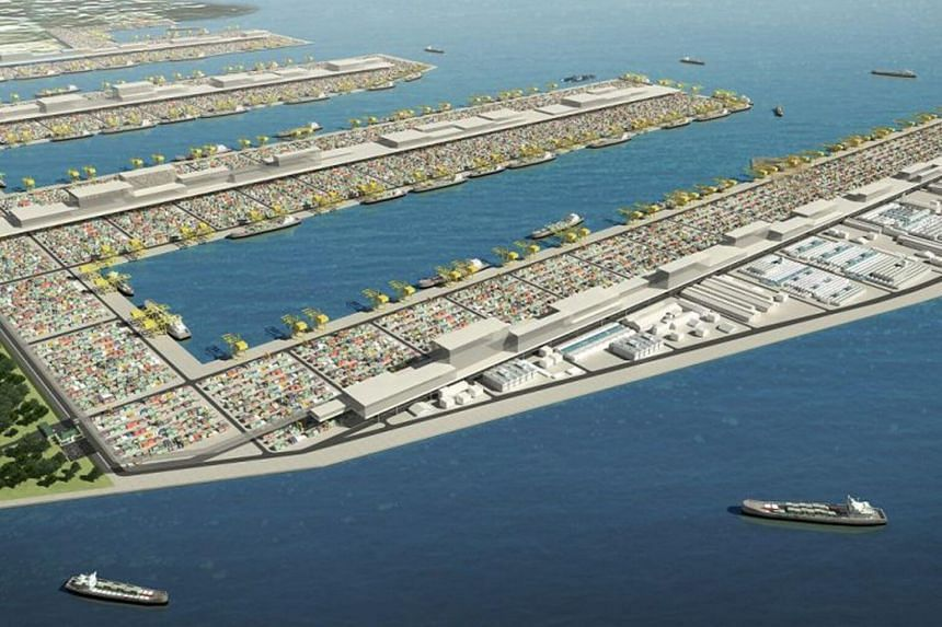 An artist's impression of the Tuas mega port. PSA is looking at having fully electric automated guided vehicles replace diesel trucks at the upcoming Tuas Port.