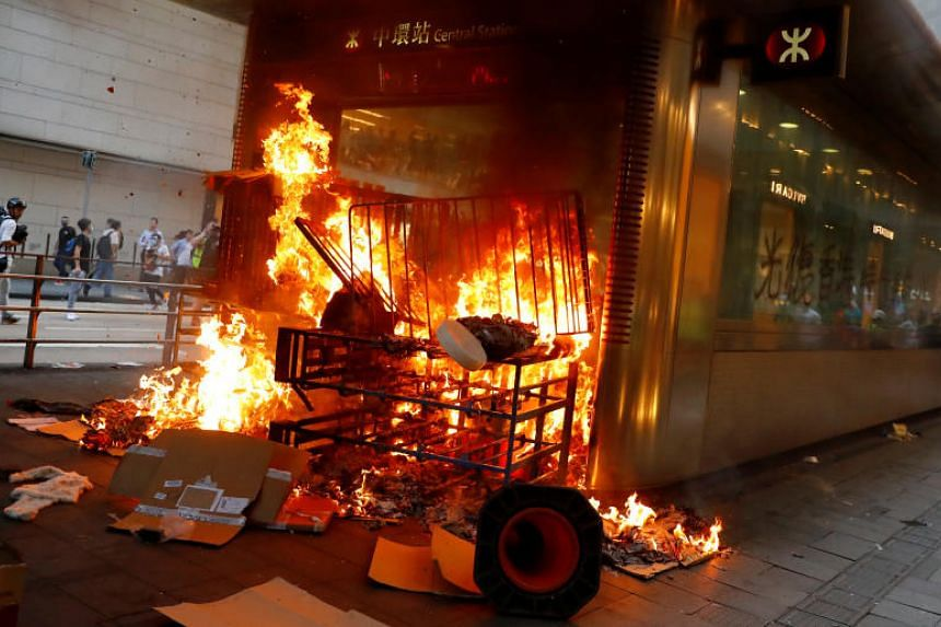 Fire at the entrance of the Central MTR station in Hong Kong on Sept 8, 2019.