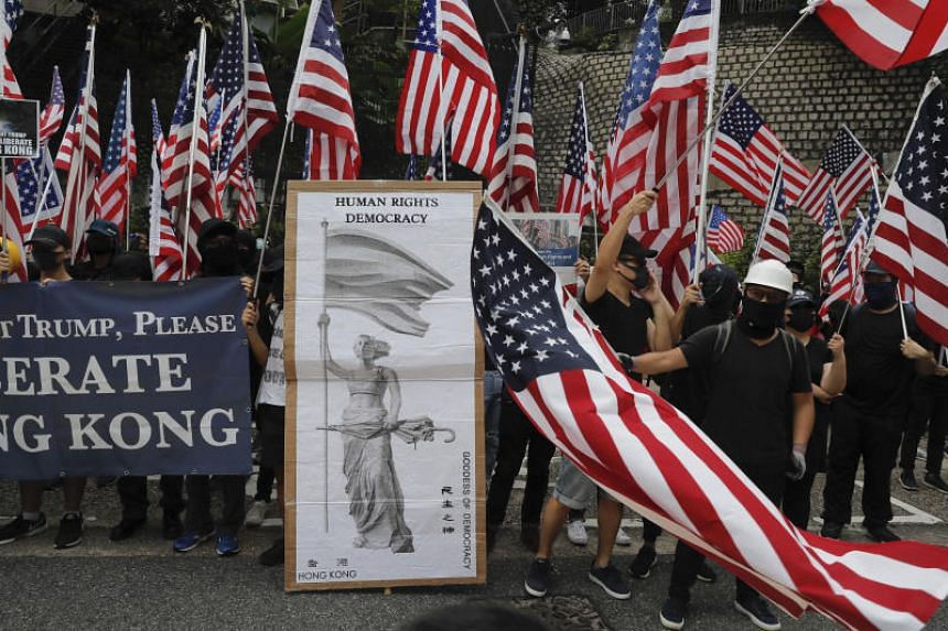 Protesters during a march to Hong Kong's US Consulate on Sept 8, 2019.